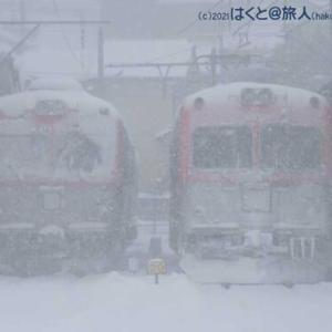 大雪の中での交換(三ツ屋にて)