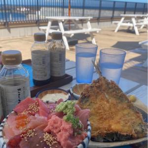 娘と初めてのタンデムツーリング、小田原の「小田原漁港 とと丸食堂」で新鮮な海鮮丼を堪能しました! #グルメ #食べ歩き #バイク #ツーリング #ランチ
