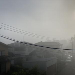 朝方は濃霧、白虹も見える