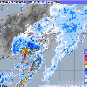 【独り言】関東平野と静岡県は今夜は土砂降り?