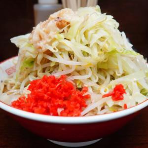 ラーメン二郎 横浜関内店 - 閉店間際で待ちなしスピード着丼。紅生姜とキャベツで粉物感。乳化が進み全体的に少しぼやけ系。落ちた野菜は腹痛の危険。