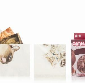 「カワイイ猫がプリントされた紙ナプキン~汚せない(^^)」