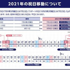 「2021年の祝日が移動します(東京五輪開催の為)」