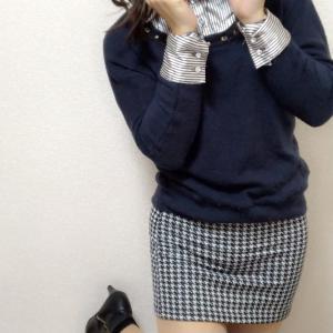ニットと格子柄のミニスカート☆