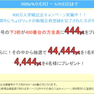 ちょびリッチ、400万人突破キャンペーン開催中!!