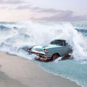 海を渡る車