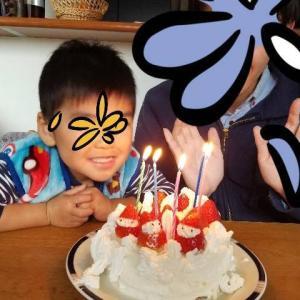 りーくんの手作りケーキ&ピザでパパの誕生日をお祝いしました(^^)
