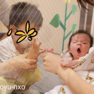 産後はじめて家族4人揃った!コロナ面会制限下での窓越し対面。