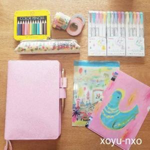 2021年ほぼ日手帳|Sweet Pinkの革カバーと荒井良二のクリアファイルで可愛らしさ満点です。