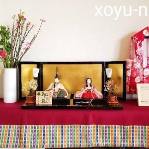 【お雛様飾り】京洛紫雲作|京木目込の親王飾り。着物がとても上品で可愛らしく、素敵なお雛様です。