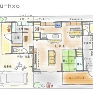 我が家の間取りをご紹介します。手書きイラスト風に、自作しました( *´艸`)