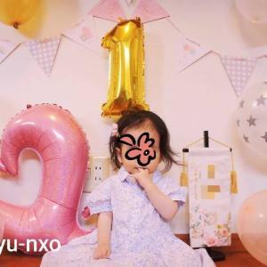 みーちゃん1歳birthday♡100均バルーンとベビーケーキでお祝いしました