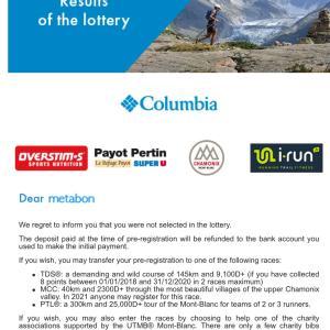 時期尚早 UTMB lottery