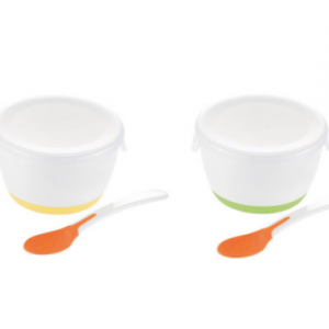 TLI (トライ) はじめての離乳食 カップ ふた・適温がわかるスプーン付 [約40℃以上の熱い物に触れると色が変わる、スプーン付の離乳食カップ・アカチャンホンポ限定仕様]