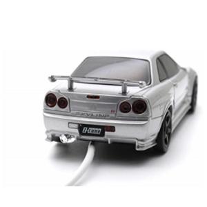 車型モバイルバッテリー 日産GT-R R34 NISMO Z Tune 4500mAh シルバー / ブルー
