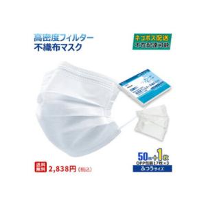不織布マスク50枚 +1枚 白   価格:2838円(税込、送料無料)  ふつうサイズ  立体3層不織布 高密度フィルター ノーズワイヤー