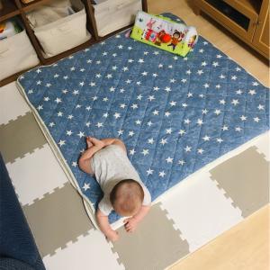 寝返りマットレスとジョイントマットの奇跡の共演。生後6ヶ月息子の城、完成です!!!