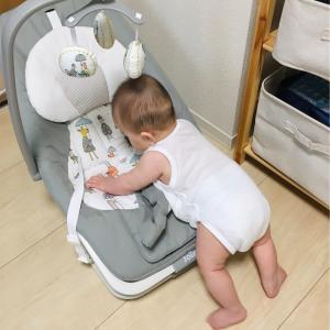 生後6ヶ月後半。息子、つかまり立ち(?)を習得!そして取り皿も獲得!