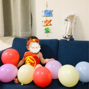 帰ってきた金太郎。1歳4ヶ月息子、1年ぶりにお母さんお手製の金太郎腹かけを身につけました。写真モリモリです。