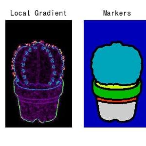 [scikit-image] 57. 画像の勾配を利用したWatershedセグメンテーション(skimage.morphology watershed, rank.gradient)