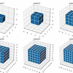 [scikit-image] 79. サイズの異なる立方体の構造化要素を生成(skimage.morphology.cube)