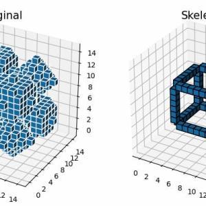 [scikit-image] 82. 3次元オブジェクトの細線化(skimage.morphology.skeletonize)
