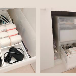 洗面台下収納◆無印良品のポリプロピレンケースにセリアのキッチントレーがぴったり
