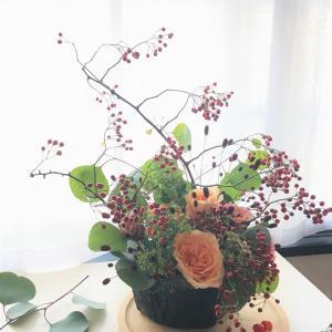 季節のアレンジメントレッスン~10月 「秋の実物を楽しもう」オンラインレッスンも可能です