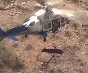 ヘリコプター山岳救助で怪我人を乗せた担架が空中で高速回転し続ける事故