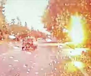 雷が目の前の木に落雷!倒れた木が運転中の車の前にズドーン