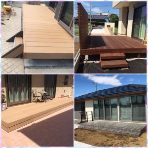 NEW♡施工例✨外構一式✨ウリンデッキ×タイルデッキ+テラス屋根☆✨宅配ボックス/機能門柱✨