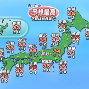 8月6日の予想最高気温:釧路25℃