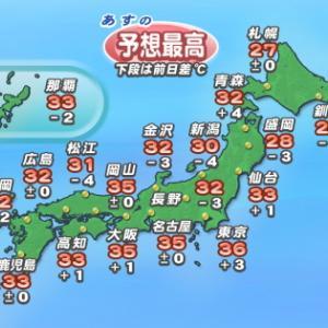 8月7日の予想最高気温:釧路25℃
