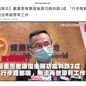 武漢肺炎  重症患者の回復後、肺機能が3割下落