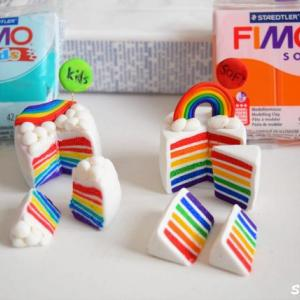その①「フィモソフト」と「フィモキッズ」で作るレインボーケーキ!比較で分かった粘土の違い