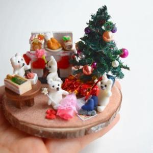 12月のミニチュアは「クリスマス」☆白くまさんファミリー