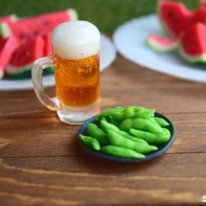 ミニチュア『ビール』と『枝豆』♪本当は教えたくないけれど・・・泡の作り方を公開!!