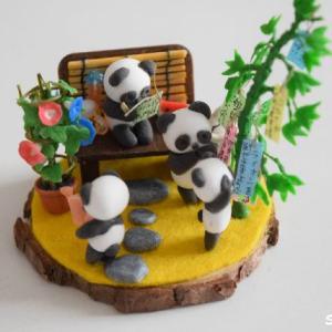 【7月のミニチュア・縁側】朝顔と笹の葉&パンダ★スイカ、蚊取り豚の作り方も紹介♪