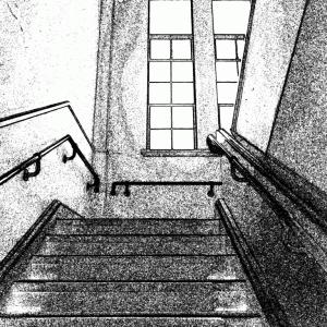 需要があるかもなので背景素材を線画化しています。洋館の階段の踊り場の、写真と線画素材です。