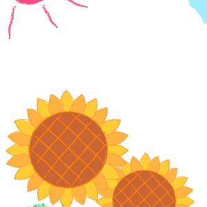 子供が描いたクレヨン画風のヒマワリの暑中見舞い向けイラスト素材です。