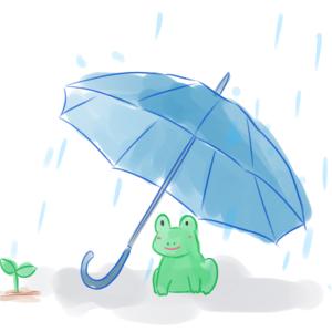 雨と傘とカエルさんの、水彩画風な優しいタッチのイラスト素材です。