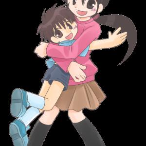 飛びついてきた息子を抱きしめる可愛い主婦のイラスト素材です。