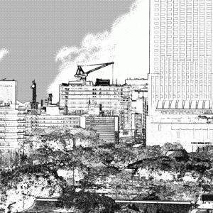 【漫画背景素材】写真の線画加工による、都会のビル群の背景素材です。