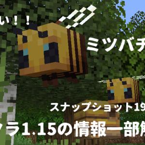 【19w34a】まさかのマインクラフト1.15の情報一部来た!!かわいいミツバチ追加!