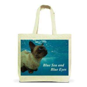 青い海と青い瞳のシャム猫|トートバッグL|ナチュラル