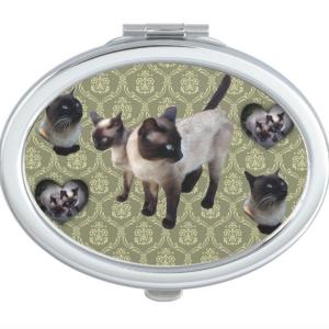 Thailand-born Siamese cat コンパクトミラー
