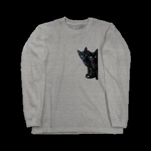 黒猫は見た ロングスリーブTシャツ