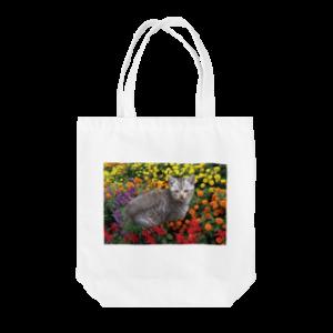 花と子猫2 トートバッグ