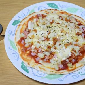 ハムとジャガイモのピザ