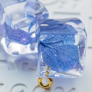氷中花(紫陽花の花びら)のイヤリングを作る